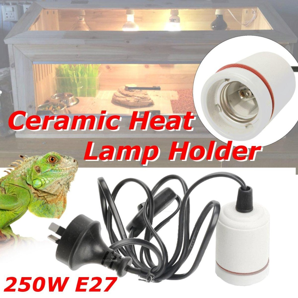 250W Reptile Ceramic Heat Bulbs Holder Adapter Lamp with On OffSwitch Pack Kit - intl