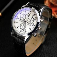 271 Vintage Unisex Kulit Band Stainless Steel Sport Militer Quartz Wrist Watch Hitam Putih Yazole