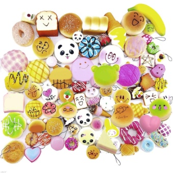 30 Pcs Fashion Kawaii Mini Squishy Soft Simulated Food Panda Bread Cake Buns Pendants Key Rings
