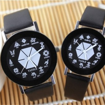 301 EXO Korean male and female students Watches Couple quartz watch men and women watch small gift - intl ...