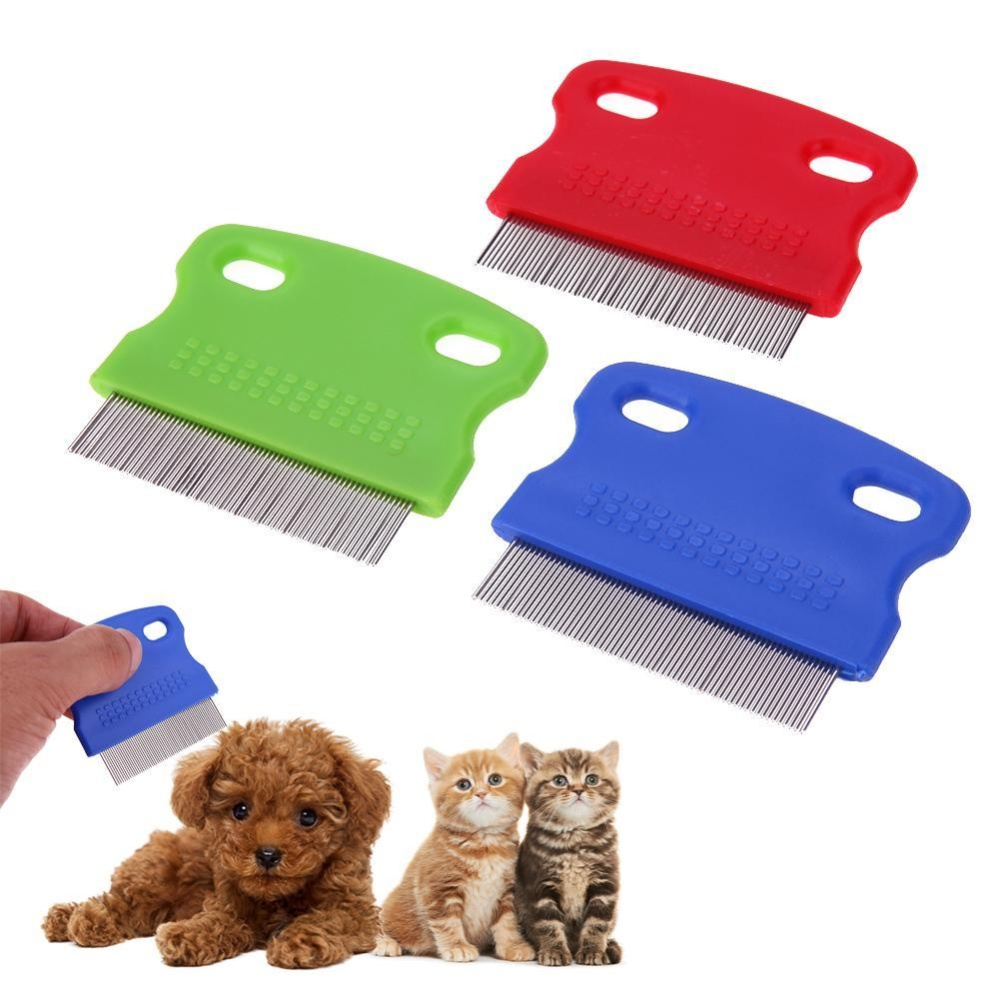 3pcs Pet Hair Removal Comb Stainless Steel Teeth Hair Brush - intl