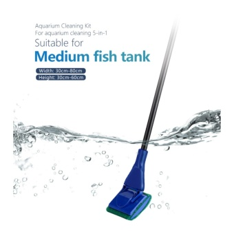 5 in 1 Glass Fish Tank Aquarium Cleaning Tools Cleaner Kit Fish Net Gravel Rake Seaweed Scraper Fork Cylinder Brush - intl