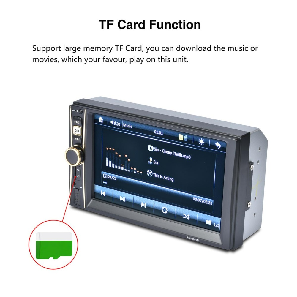 ... 7 Inch 2 Din Car Stereo MP5 Player Mirror Link Bluetooth FM DVR inSteering Wheel Control ...