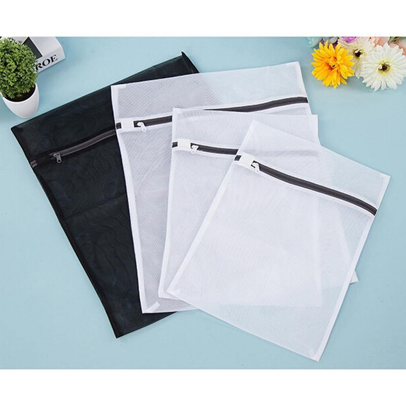 Ai Home 4 buah multifungsi berritsleting tas jaring untuk laundry(putih & Hitam)