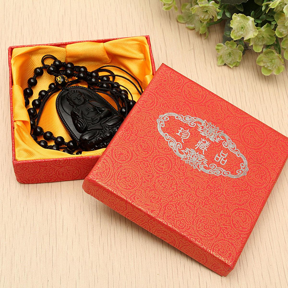 ... Alam Chisese yang hitam seperti batu Obsidian ukiran budha beruntung Amulet liontin Nacklace Internasional