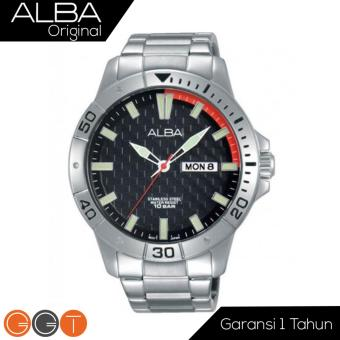 Alba Analog Jam Tangan Pria - Strap Stainless Steel - Black- AT2039X1