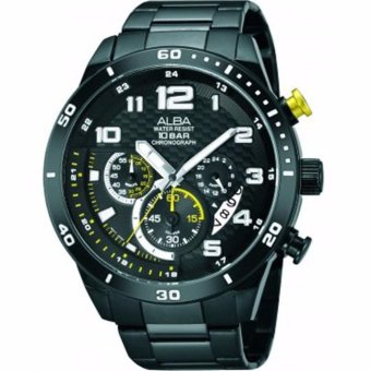 ALBA Chronograph - Jam Tangan Pria - Hitam - Stainless Steel AT3467X1