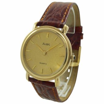 ALBA Jam Tangan Pria - Brown Gold - Leather Strap - ATA24J - 2