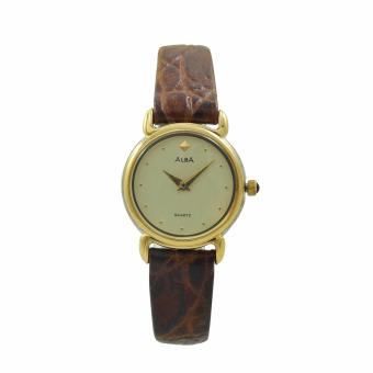 ALBA Jam Tangan Wanita - Brown Gold - Leather Strap - ATA92H