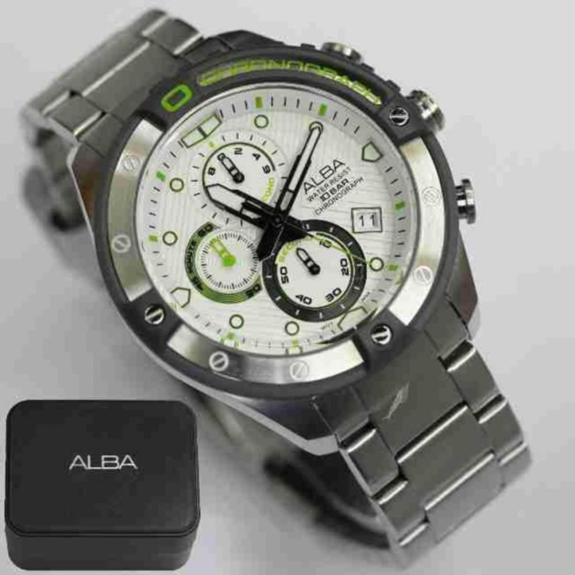 Alba Signa Chronograph Jam Tangan Strap Stainless Steel Silver 160639 Pria Am3327x1