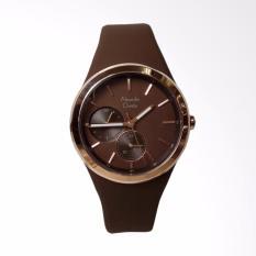 Alexandre Christie AC2663BF Silicone Strap Multifunction Watch Jam Tangan Wanita - Brown