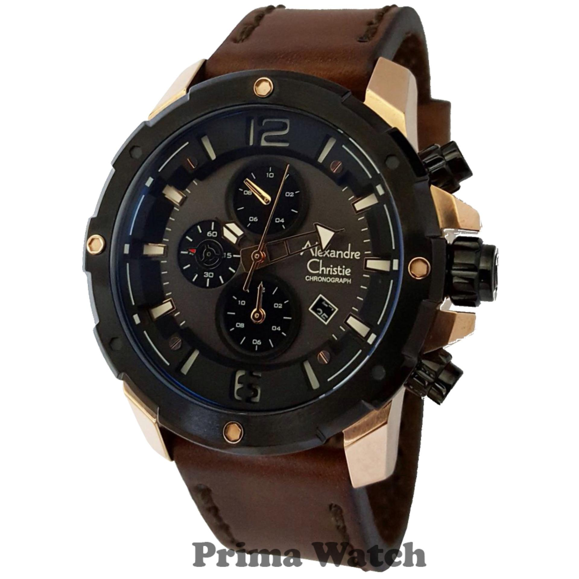 Alexandre Christie Ac6410mck Jam Tangan Pria Strap Leather Coklat Ac6439mc Chronograph Silver Steel Source Rose Gold
