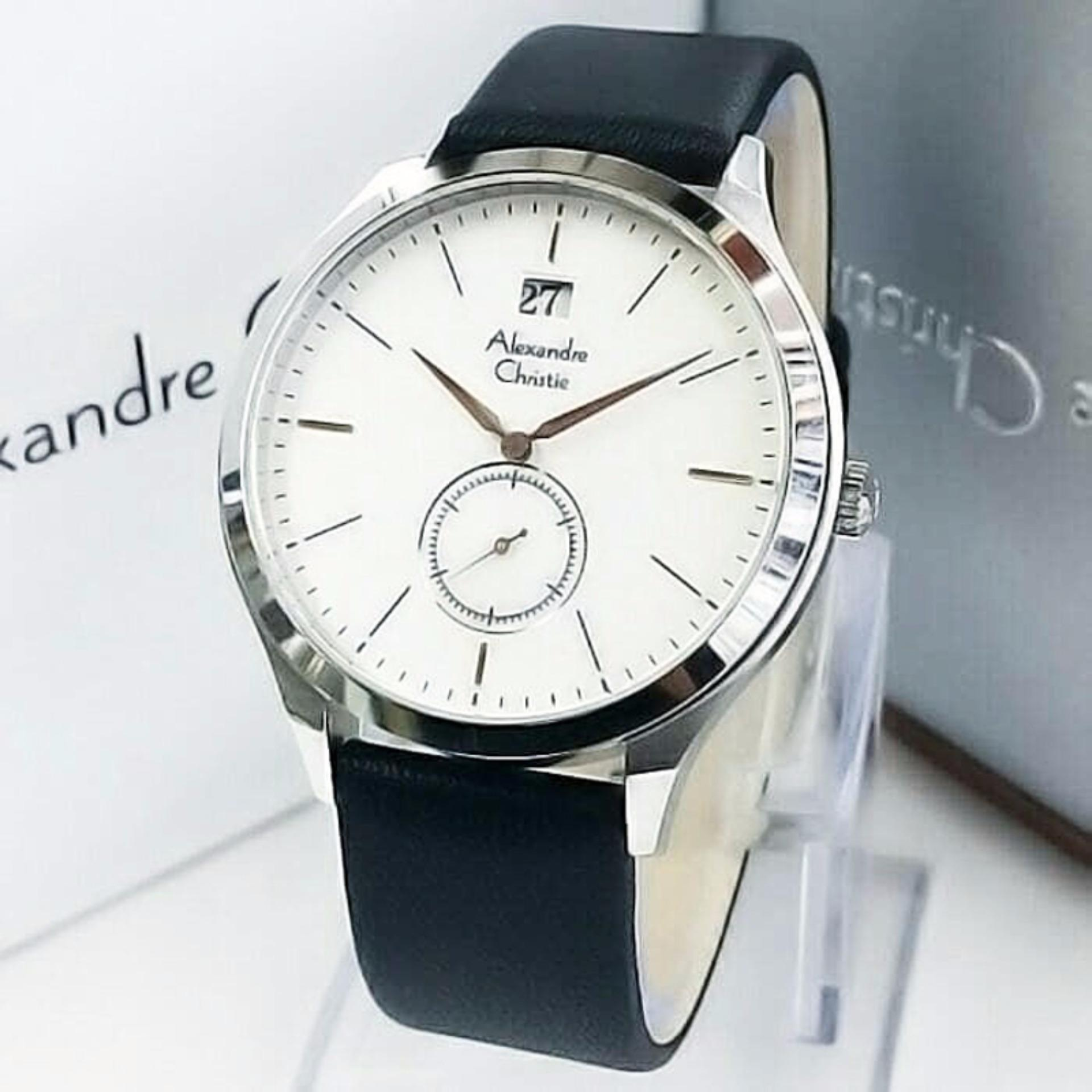 Alexandre Christie Jam Tangan Pria Rosegold Putih Strap Hitam 8471 6324 Silver Original Ac8440s Kulit