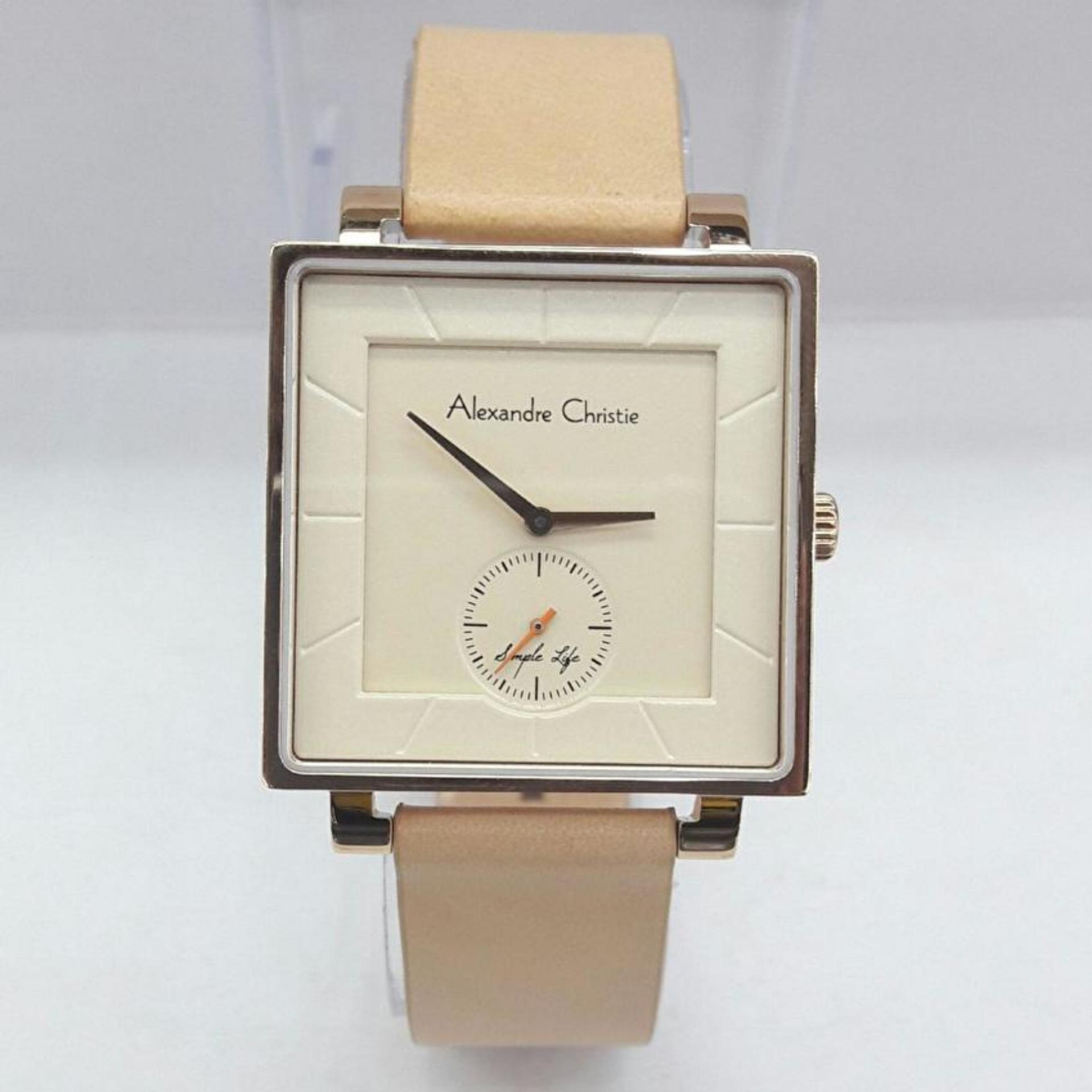Alexandre Christie AC8498MS Original Jam Tangan Wanita Leather Strap Fashionable .