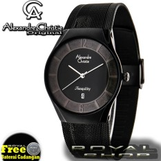 Alexandre Christie Jam Tangan Pria AC8331RS Full Black Stainless Steel .