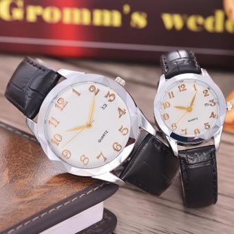 Alexandre Costie - Jam Tangan Pria dan Wanita - Body Silver - White Dial - Black Leather Strap - AC-5501D-GL-SW-TGL-(gold)-BLACK LEATHER STRAP-Couple - 2