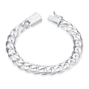 Amart Man's Fashion Jewelry 925 Sterling Silver 10 mm Square Buckle Sideways Chain Bracelet For Unisex - Intl