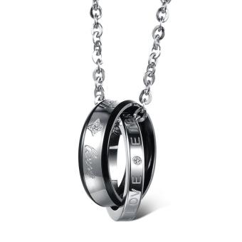Amart Necklace Pure Steel With Titanium Steel Couple Rhinestone Chain Pendant(Black) - intl
