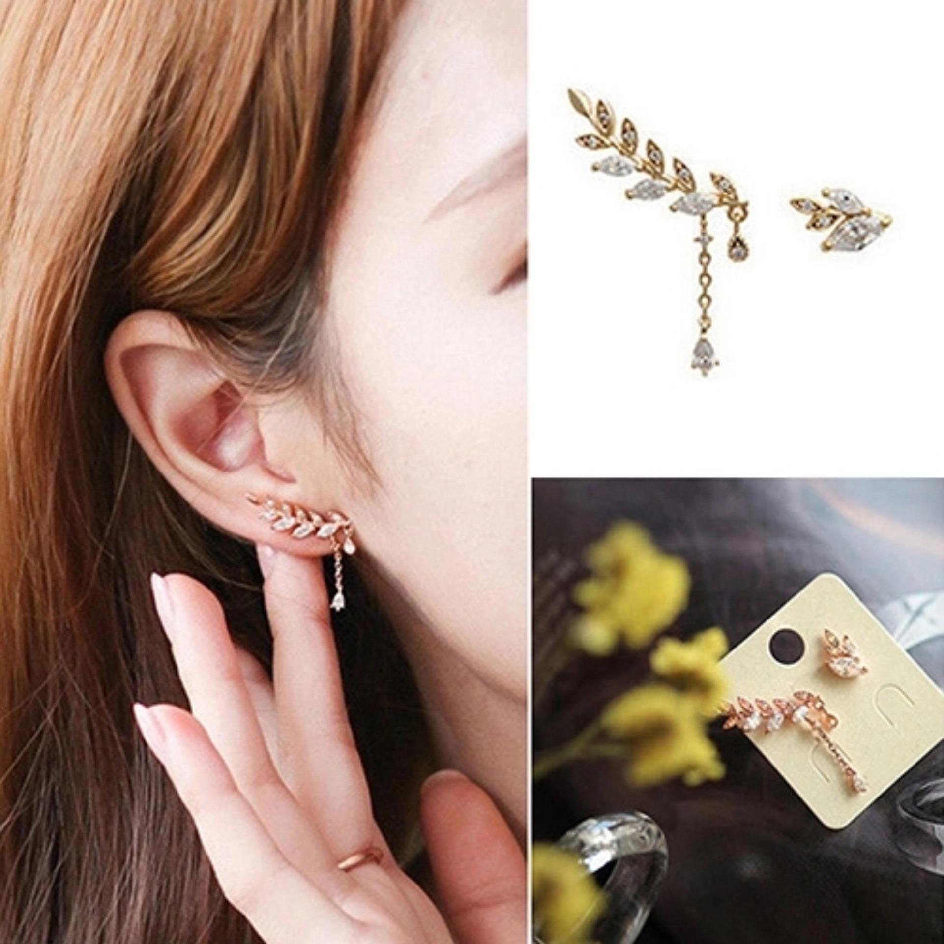 Anting Pear Mutiara Jepit Clip Earring Update Daftar Harga Terbaru Produk Ukm Bumn Mas Putih Laut Amefurashi Korea Daun Asimetris Asymmetric Leaf Dangle Beauty