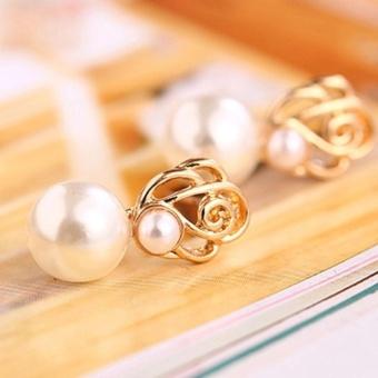 Amefurashi Anting Korea White Bead Gold Stud Earring Bride Stunning - 2