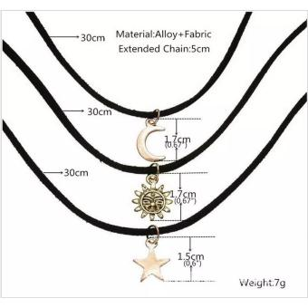 Amefurashi Kalung Choker A103 3 in 1 Choker Moon Sun and StarNecklace - 2