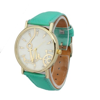 Anchors Unisex Leather Band Analog Quartz Vogue Wrist Watches Green - intl