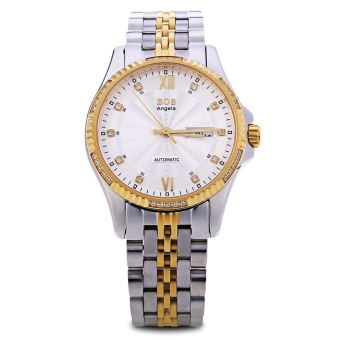 Angela Bos 9012G Men Automatic Wind Mechanical Watch Artificial Diamond Dial Luminous Pointer 3ATM Date Day Wristwatch (Gold)