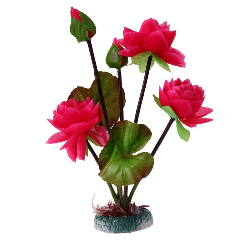 Aquarium Fish Tank Decoration Ornament Lotus Flower Leaf Simulation(Red) - intl