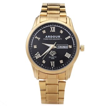 ARDOUR 1835 Male Quartz Watch Artificial Diamond Dial 3ATM Luminous Roman Numerals Display Wristwatch (GOLD)