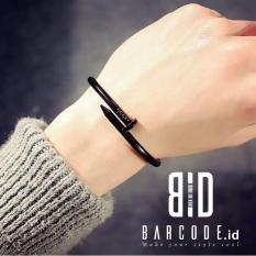 Barcode.id Gelang Pria / Gelang Stainless Paku Nail Hitam