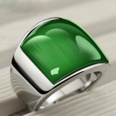 Baru Fashion Cincin Punk 361L Stainless Steel Vintage Cincin With Hijau Opal Cincin untuk Pesta