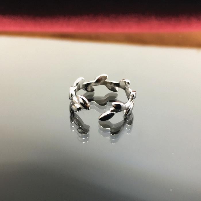 Beberapa S925 segar perempuan cabang zaitun perak pembukaan cincin
