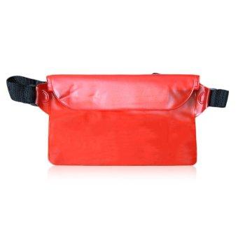 Belle Universal Seal Type Men Women Waterproof Waist Bag Mobile Phone PVC Bag red - intl