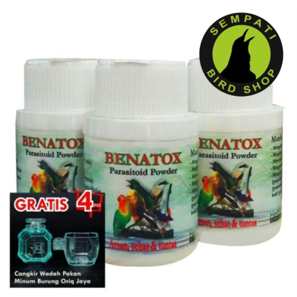 Benatox Goc Shampo Obat Burung Pembasmi Kutu (bonus 4 pcs cepuk wadah pakan minum burung transformer oriq jaya)