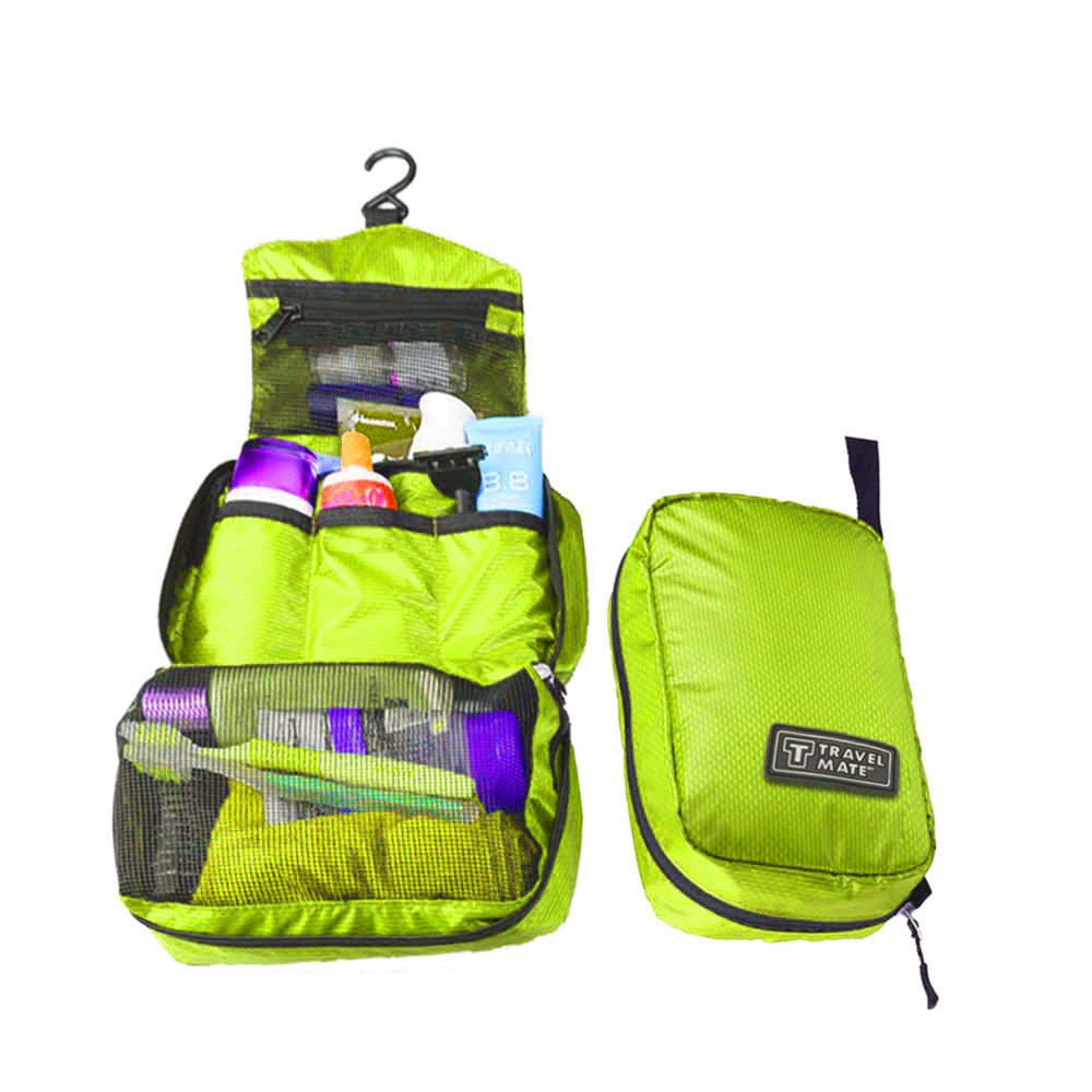 Ada 3 sekat di dalamnya BEST Travel Mate Toiletries Organizer Bag Korea Style Tas Travelmate Shower - HIJAU