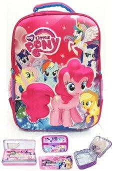 BGC My Little Pony 3D Boneka Timbul Hard Cover Tas Ransel Sekolah Anak SD + Lunch