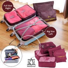 BIG SIZE WATERPROOF Travel Bag 6in1 Organizer IM OR 60-01/Organizer Space Koper 1 Set - Maroon