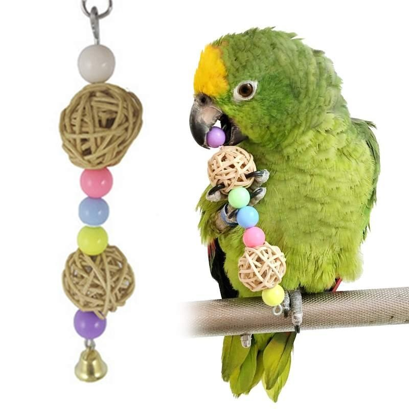 Bird flexible colorful bridge parrot bird swing pet Stand toy BellSwing Cage - intl