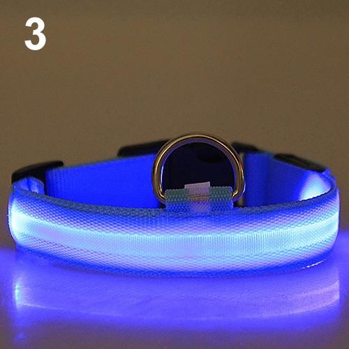 Bluelans(R) Adjustable Nylon Night Safety LED Flashing Glow Neck Strap Puppy Pet Dog Collar S (Blue) - intl