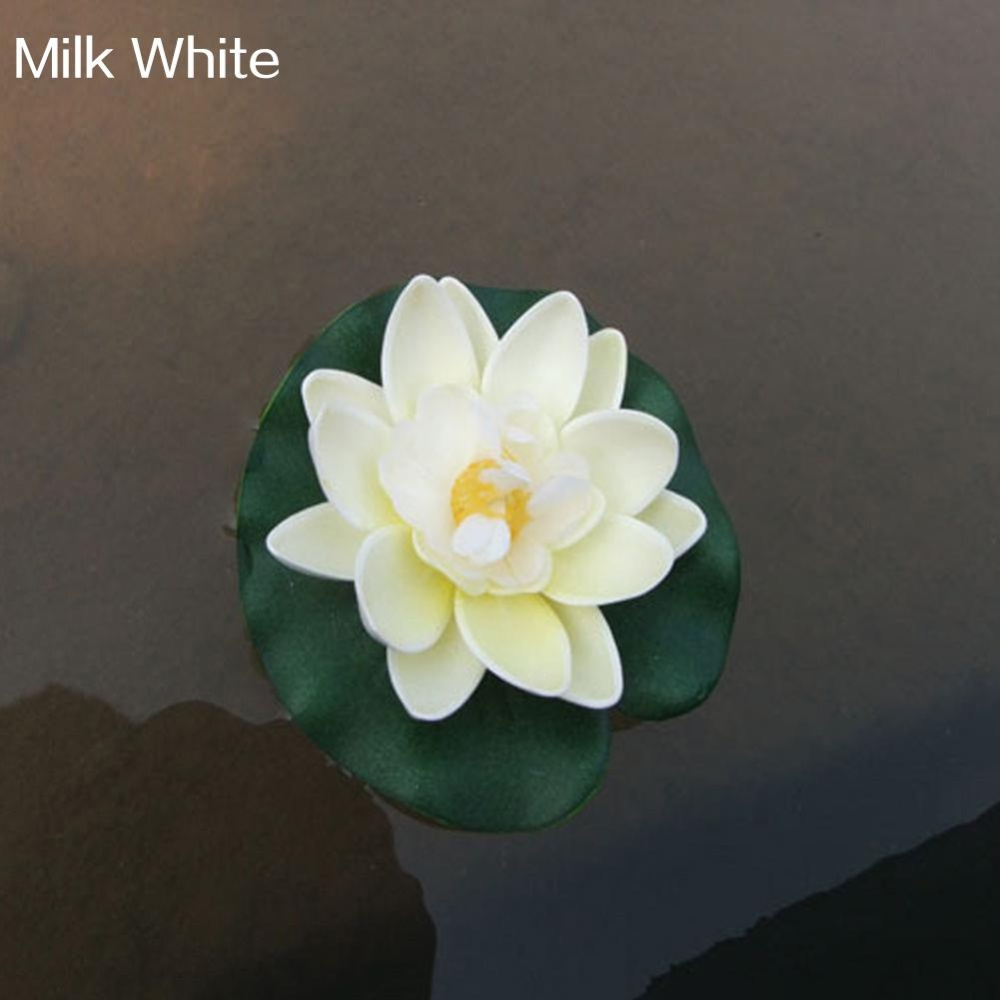 Bluelans(R) Artificial Water Lily Floating Flower Lotus Home Yard Pond Fish Tank Decor (Milk White) - intl