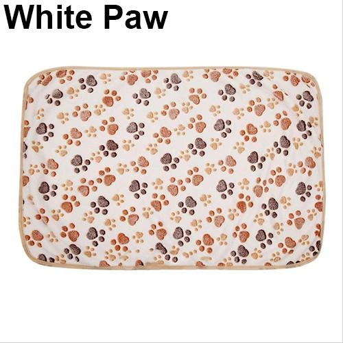 Bluelans(R) Cat Dog Puppy Pet Bone Paw Print Warm Coral Fleece Mat Soft Blanket Bed Pad L (White Paw) - intl