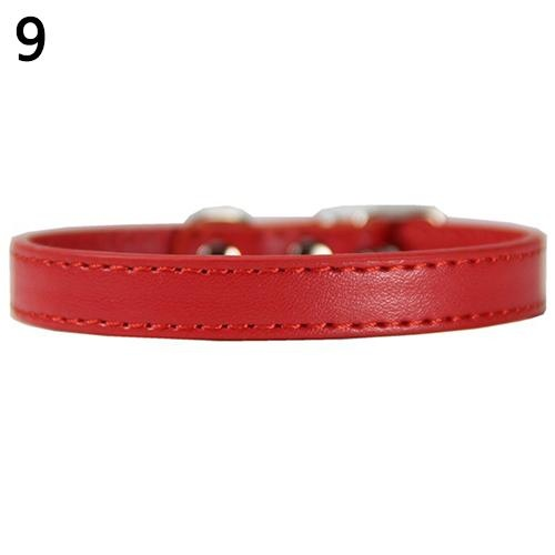 Bluelans(R) Fashion Adjustable Faux Leather Solid Color Dog Cat Puppy Neck Strap Pet Collar M (Red) - intl