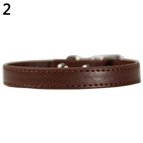 Bluelans(R) Fashion Adjustable Faux Leather Solid Color Dog Cat Puppy Neck Strap Pet Collar S (Coffee) - intl