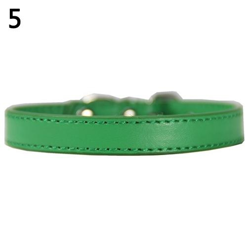 Bluelans(R) Fashion Adjustable Faux Leather Solid Color Dog Cat Puppy Neck Strap Pet Collar S (Green) - intl