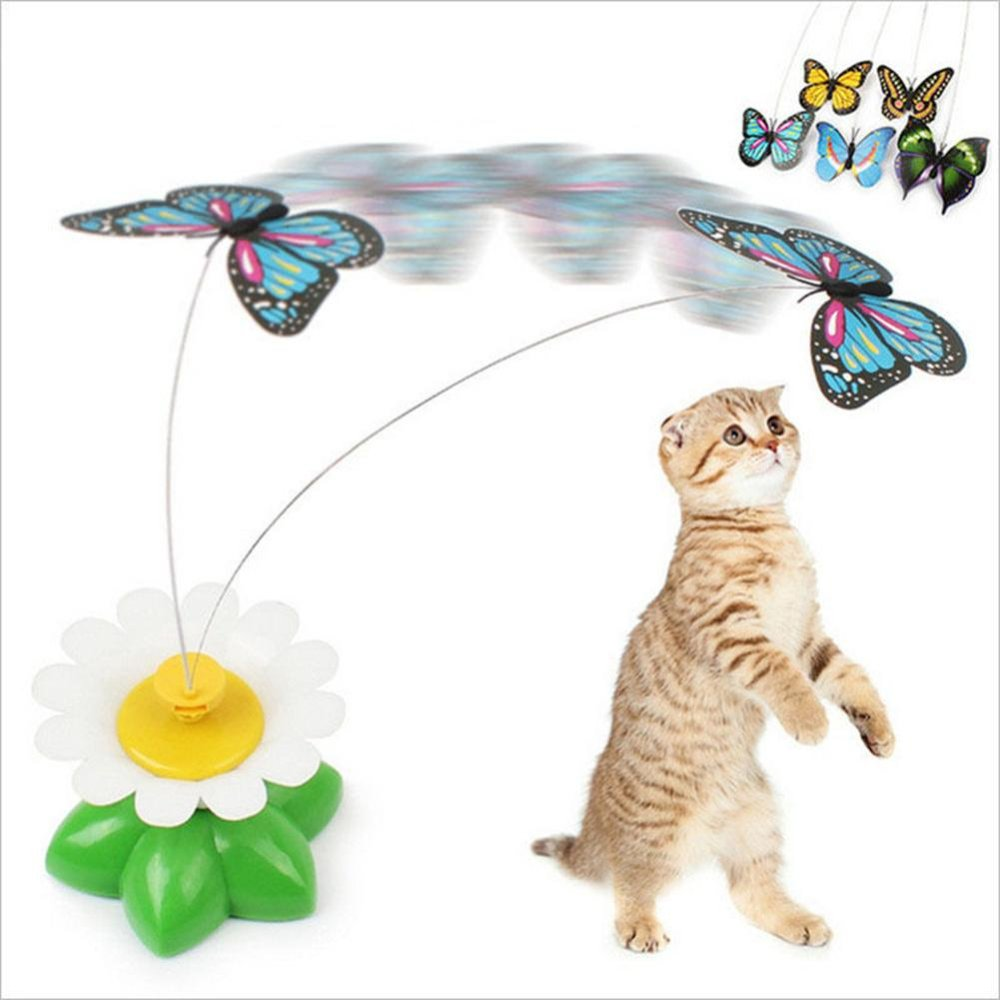 Bluelans(R) Funny Electric Flower Rotating Butterfly Teaser Cat Kitten Pet Play Toy Gift - intl