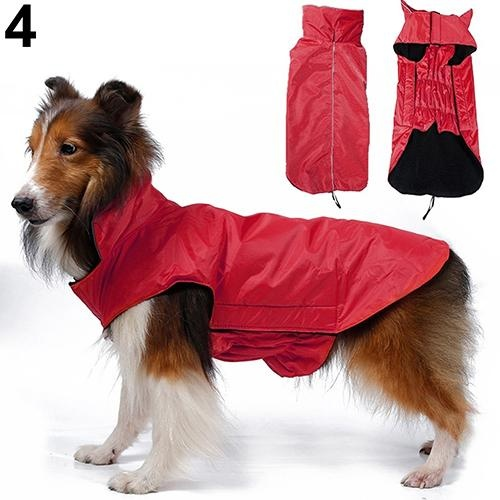 Bluelans(R) Waterproof Big Pet Dog Fashion Waistcoat Jacket Fleece Lined Raincoat Clothes XS (Red) - intl