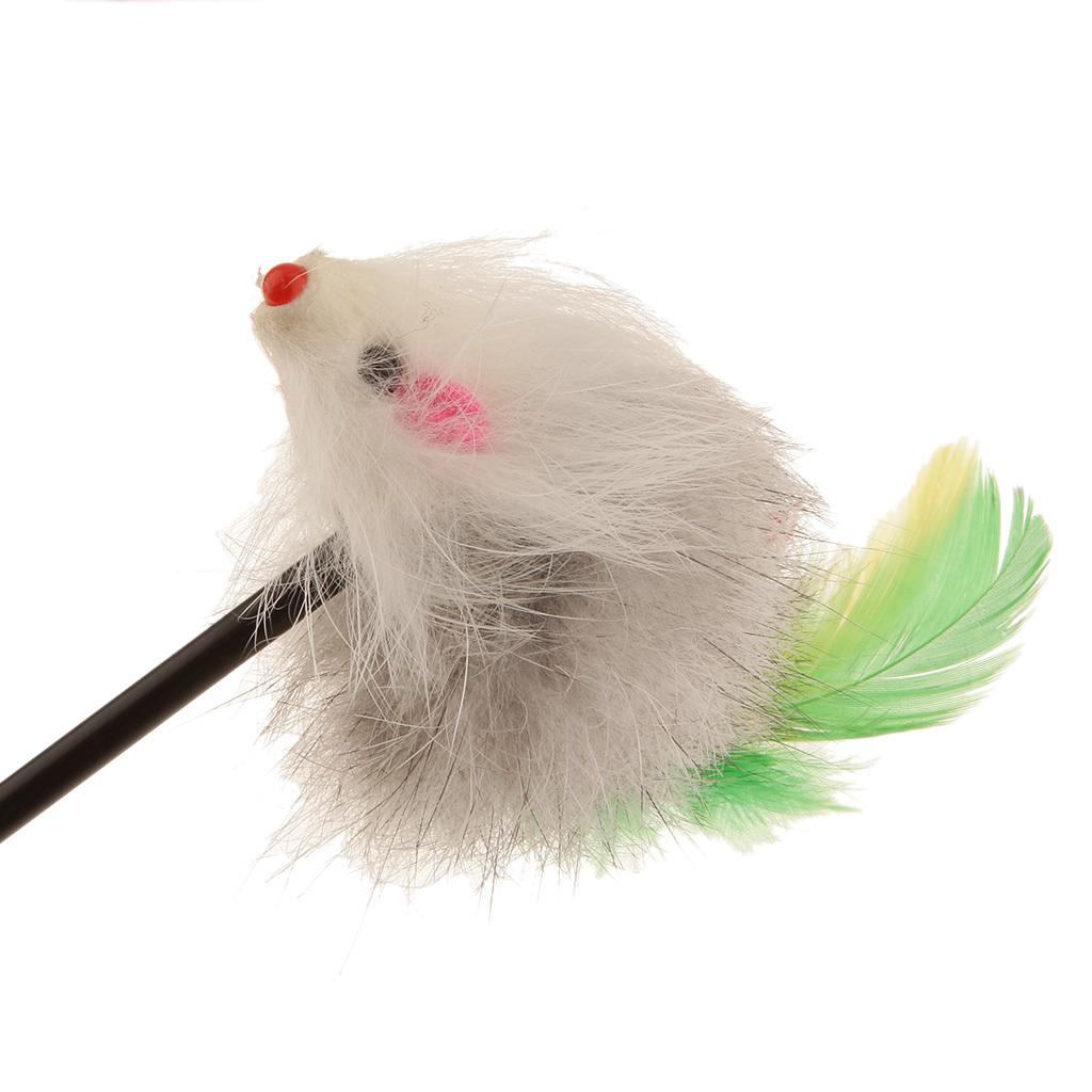 BolehDeals berwarna-warna-warni bulu tikus mainan kucing tongkatsihir tiang otak membuat hewan peliharaan yang menarik -Internasional