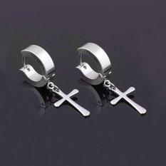 BolehDeals Punk Stainless Steel Cross Menjuntai Hoop Huggie Anting Pierced Steel (Silver)