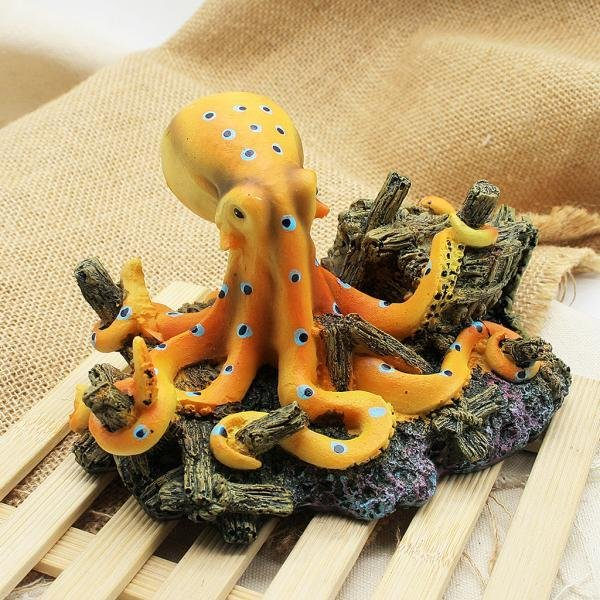 BolehDeals Resin Artificial Octopus Ornament for Aquarium Fish TankBackground Decor - intl