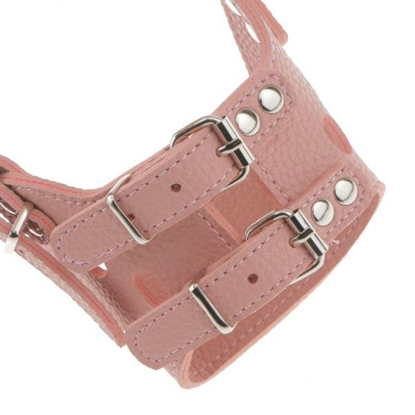 BolehDeals Safe Adjustable Soft Leather Dog Puppy Muzzle BasketCage Anti-bark M Pink - intl
